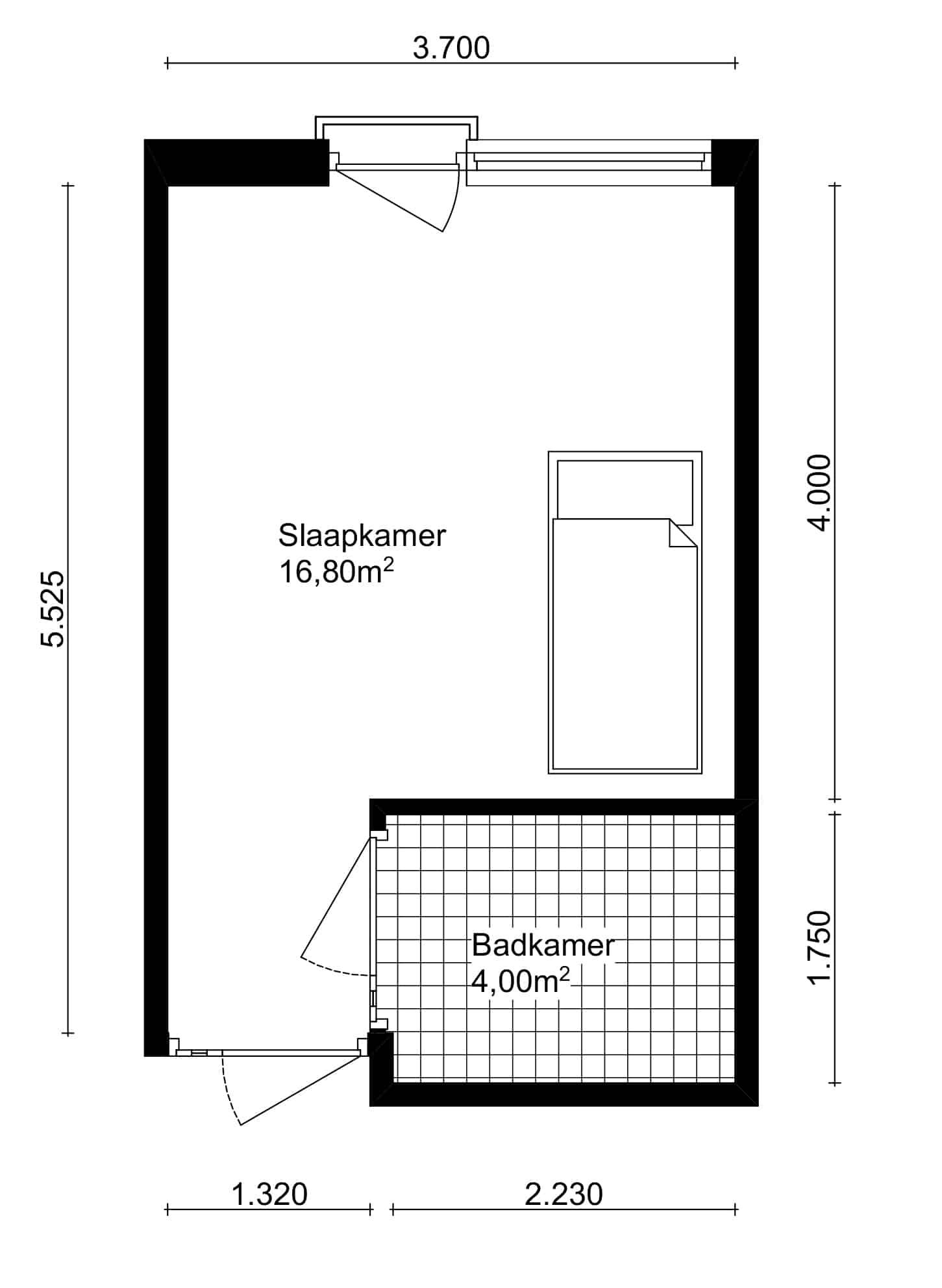 Plattegrond slaapkamer bij De Overloop.