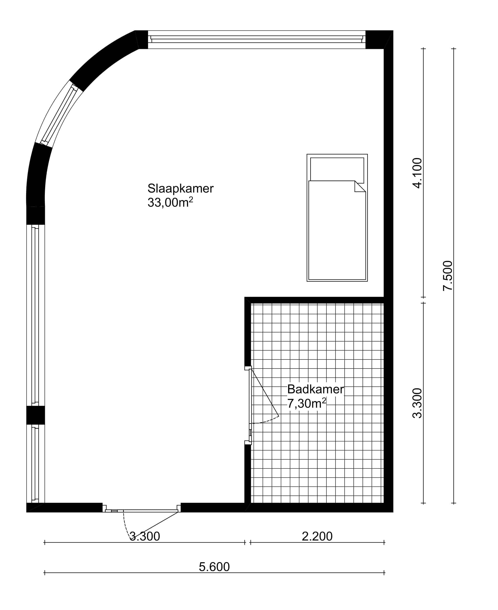 Plattegrond hoek slaapkamer in Vizier