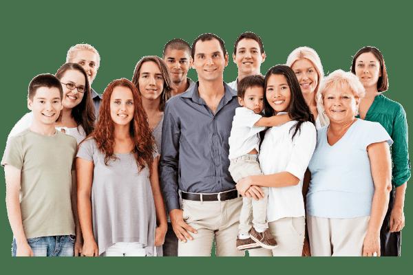 Groepsfoto met mensen uit een verschillende generatie.