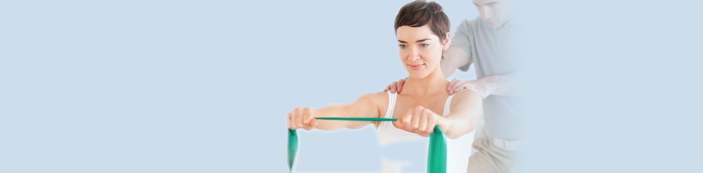 Fysiotherapeut aan het werk met client